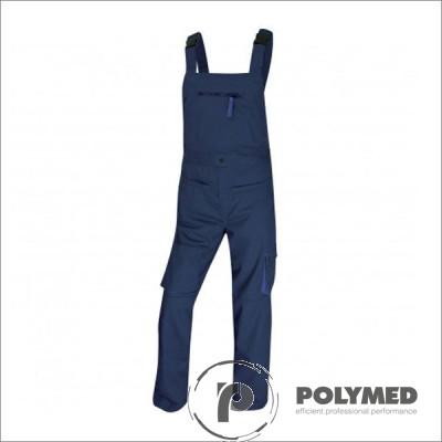 Pantaloni de lucru unisex, cu pieptar, albastru, XS-XL, doc - Polymed
