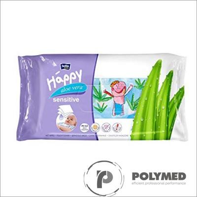 Servetele umede Happy Sensitive, cu aloe, rezervă - Polymed