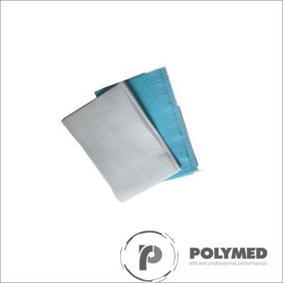 Bavete din PE+hartie, fara legaturi, 61 cm x 53 cm, 80 buc., alb/albastru