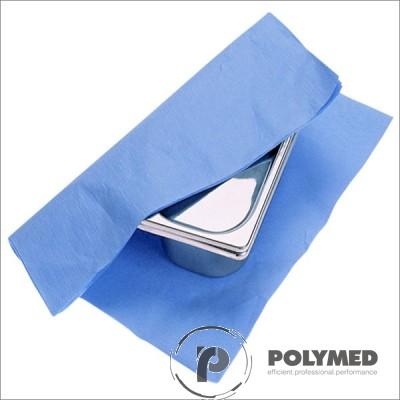 Hartie creponata sterilizare autoclav, 120x120 cm, albastru/verde, 125 buc.