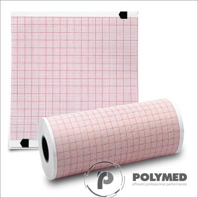 Hartie ECG pentru Fukuda Denshi OP358TE, caroiaj rosu, 145 mm x 30 m, role