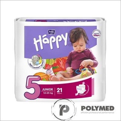 Scutece copii Happy Junior 21, 12-25 kg - Polymed