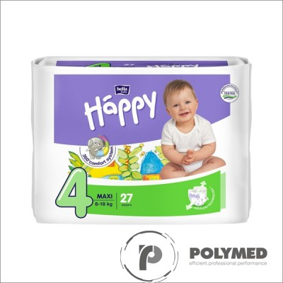 Scutece copii Happy Maxi 27, 8-18 kg - Polymed