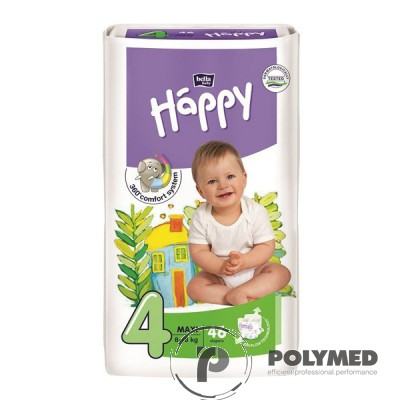 Scutece copii Happy Maxi 46, 8-18 kg - Polymed