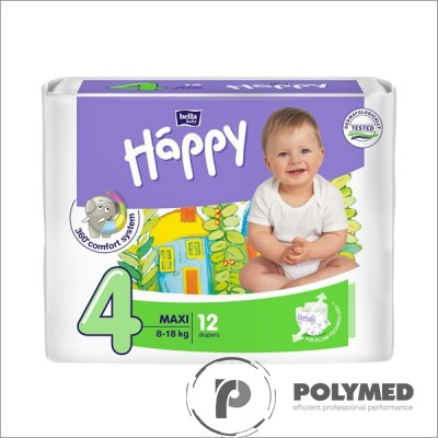 Scutece copii Happy Maxi, 8-18 kg - Polymed