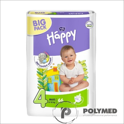 Scutece copii Happy Maxi 66, 8-18 kg - Polymed