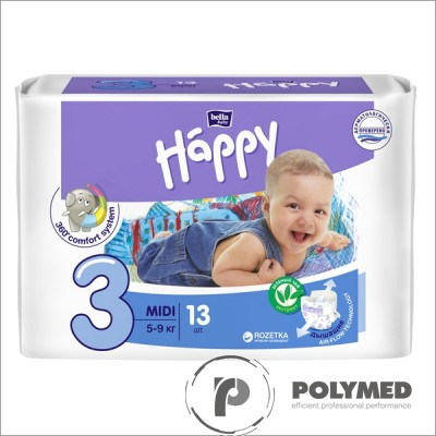Scutece copii Happy Midi, 5-9 kg - Polymed
