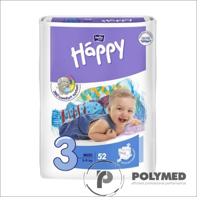 Scutece copii Happy Midi 52, 5-9 kg - Polymed