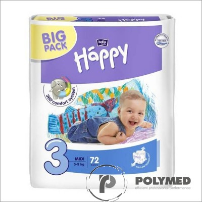 Scutece copii Happy Midi 72, 5-9 kg - Polymed