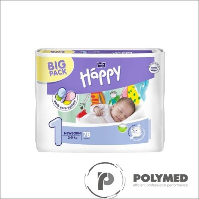 Scutece copii Happy Newborn, 2-5 kg - Polymed