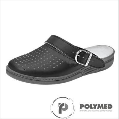 Saboti albi/negri, din piele, perforati, marimi 41-46 - Polymed