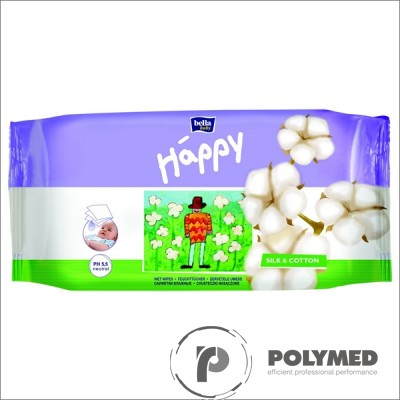Servetele umede Happy Silk&Cotton, duo pack - Polymed
